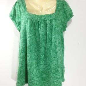 XL Short Sleeve Top Sonoma Green Square Neck